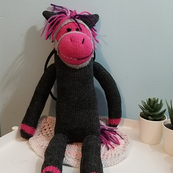 Handmade sock puppet gray & purple horse